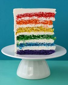 "This colorful layer cake from ""Whisk Kid"" blogger Kaitlin Flannery is ideal for a child's birthday party, or any time you want to make a big impression.  YIELD: MAKES ONE 9-INCH-ROUND SIX-LAYER CAKE"
