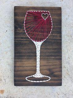 Wine Glass String Art Board by KailsStringArt String Wall Art, Nail String Art, String Crafts, String Art Templates, String Art Patterns, Doily Patterns, Dress Patterns, Crafts To Make, Arts And Crafts