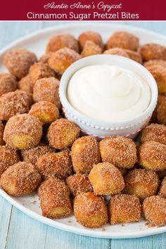 Copycat Auntie Anne's Cinnamon Sugar Pretzel Bites with Fluffy Cream Cheese Dipping Sauce ~ YUM! #Christmas #snack #recipe