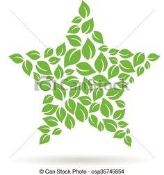 Star of leaves logo. Vector design graphic illustration - csp35745854