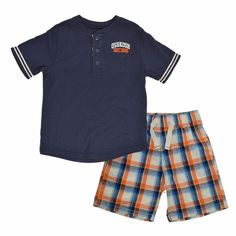 Oshkosh Boys 2-Piece Shorts Outfit Set Henley Graphic TShirt Drawstring Shorts  #OshKoshBgosh #Everyday