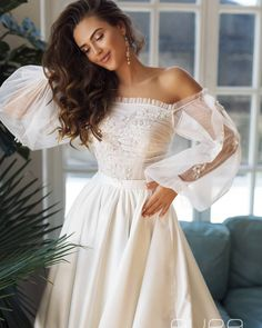 Wedding dress 'Brigitte' from the new AURA line by AlexVeil Bridal with beautiful off shoulder balloon sleeves classical satin skirt and beautiful handmade detailing Wedding Gowns With Sleeves, Tea Length Wedding Dress, Wedding Dresses, Base Model, Applique Dress, Ivory Wedding, The Dress, Dress Form, Etsy