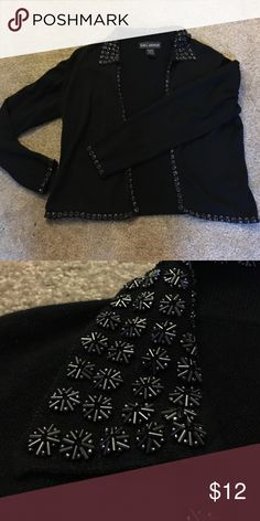 Black Cardigan with Sequin Details Very cute cardigan that can be dressed up or down. S.M.L. Design Sweaters Cardigans