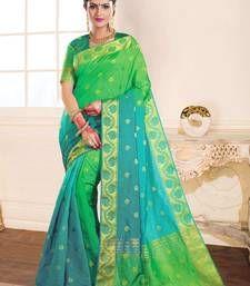 Buy green woven raw_silk saree With Blouse silk-saree online