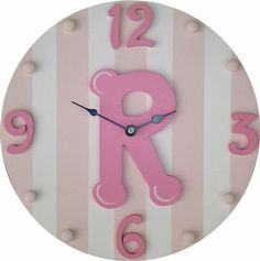 Girl Initial Wall Clock - Needs to be a A Cherry Blossom Bedroom, Orange Wall Clocks, Novelty Clocks, Initial Wall, Clock For Kids, Personalized Gifts For Kids, Clock Art, Hand Painted Walls, Wooden Hand