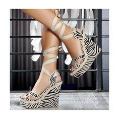 Beige Strappy Sandals Stripes Wedge Heels Platform Shoes image 1