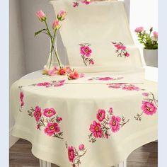 Punto Cruz Gratis Mantel Flores Violetas Com Portal Más
