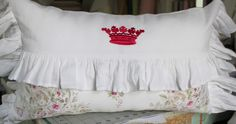 Constance design, Boudoir pillow size 14 x 23. Raspberry crown on white linen (jwh) with cabbage rose print accent.