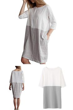 1874aae7a8 Famulily Women s Oversized 3 4 Sleeve Two Tone Colors Loose T Shirt Dress  with Pockets