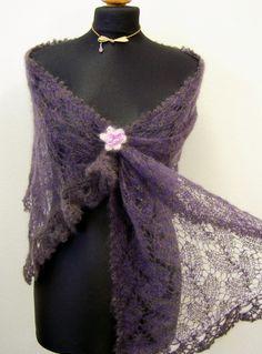 stole knitting pattern twocoloured lace shawl pdf by Wollarium, $6.00