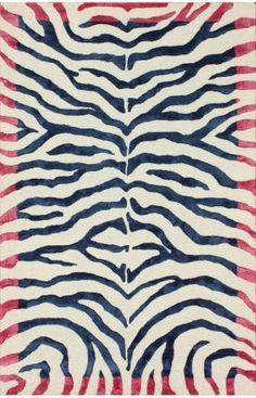 Rugs Usa Safari Contemporary Handmade Viscose Zebra Royal