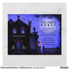 Halloween Invitation Wording, Halloween Birthday Party Invitations, Postcard Invitation, Halloween Party Costumes, Halloween Cards, Halloween Themes, Invitation Ideas, Halloween Haunted Houses, Spooky Halloween