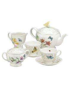 """Lenox """"Butterfly Meadow"""" 9pc Tea Set"""