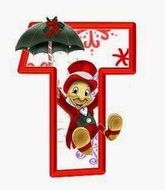 T - Christmas Disney Christmas Alphabet, Christmas Clipart, Disney Christmas, Christmas Printables, Christmas Ornaments, Disney Letters, Disney Alphabet, Taco Cartoon, Alfabeto Disney