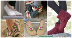 A Collection of Crochet Women Slippers Free Patterns with instructions, crochet solely with yarn or crochet with flip flop soles in different stitches