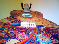 Guitar painted with Sharpies