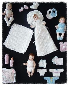 Cecilevandongen.nl Dollhouse Dolls, Miniature Dolls, Dollhouse Miniatures, Knitted Dolls House, Baby Fairy, Clay Baby, Tiny Dolls, Doll Crafts, Doll Clothes Patterns