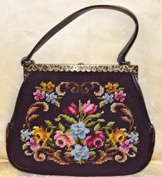 Vintage Needlepoint Handbag with Floral Design