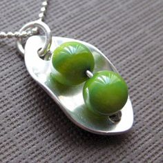 Two Peas in a Pod Necklace - Sterling Silver and Green Mother of Pearls J.C. Jewelry Design