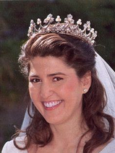 Tiara of the Marquesses of Casa Riera, the bride is a grand niece of Queen Fabiola's
