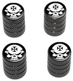 "Amazon.com : (4 Count) Cool and Custom ""Diamond Etching Iron Cross Biker Skull Top with Easy Grip Texture"" Tire Wheel Rim Air Valve Stem Dust Cap Seal Made of Genuine Anodized Aluminum Metal {Cat Ford Black and White Colors - Hard Metal Internal Threads for Easy Application - Rust Proof - Fits For Most Cars, Trucks, SUV, RV, ATV, UTV, Motorcycle, Bicycles} : Sports & Outdoors"