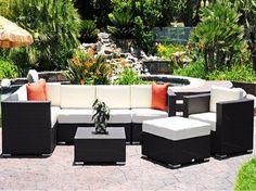 Luxury Caluco Dijon Lounge Cushion Patio Wicker Set - modern.