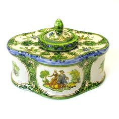 Pretty antique French faience inkwell with romantic scene