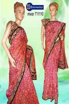 #Chenderi fabric with multi colored #kalahasti print pattern is coverted as a #saree applying #mangaligiri #fabric for boarder  patch and triangle appliques Code: mwsr 711110 Price: 1715/-  ( bulk buyers / wholesale / boutiques / Retail shops for trade  inquiries please contact our whatsapp no 8801302000)