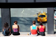 Watching the cars form the High Line Park
