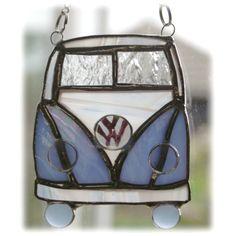 VW Campervan Suncatcher Vidrieras azul acampada