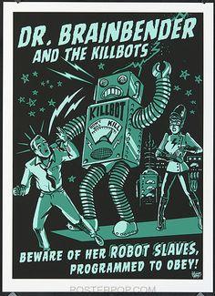vince ray, art, robot, green,