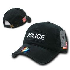 b0ada27042cd1 USA Police Officer Cop Sheriff PD Law 2 Dual American Flag Raid Black Cap  Hat