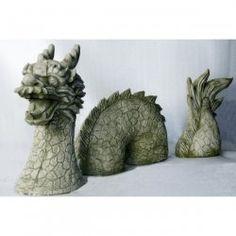Deko-Figur für den Garten Chinesischer Drachen - dreiteilg - klein