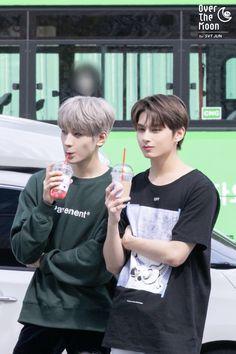 Wonwoo and Jun- Seventeen Seventeen Vlive, Seventeen Junhui, Woozi, Jeonghan, Diecisiete Memes, Photo Recreation, Wen Junhui, Big Group, Pledis 17