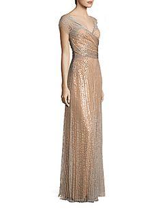 Jenny Packham Short Sleeve Embellished Gown - Illusion