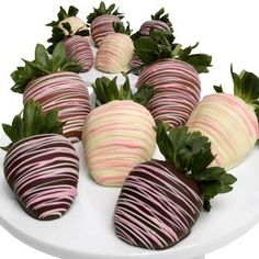 Chocolate Covered Strawberries Drizzled W/ Pink.