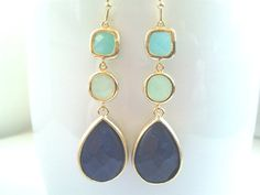 Mint with Blue Agate Drop Dangle Earrings by LaLaCrystal on Etsy, $38.50