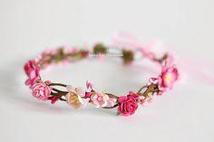 Pink flower crown  Toddler pink floral crown  Birthday halo