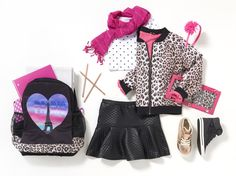 Back to School Outfits | Photo-real backpacks, leopard jacket, girls accessories, back to school shoes. Find everything she needs to build her back to school outfit!