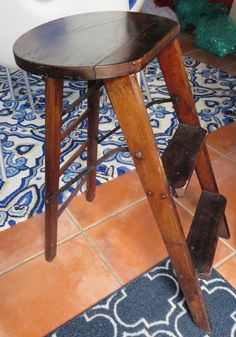 Vintage Folding Wood Step Stool/ladder in Antiques, Furniture, Benches & Stools | eBay