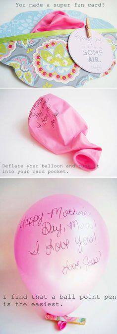 i like the ballon idea but floating it to heaven to my mom on mothers day Craft Gifts, Diy Gifts, Mothers Day Balloons, Diy Love, Little Presents, Ideias Diy, Mother's Day Diy, Cool Cards, Creative Gifts