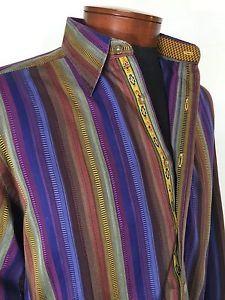 583c3011f110 Robert Graham Striped Embroidered Flip Cuff Button Casual Dress Shirt Sz  Medium