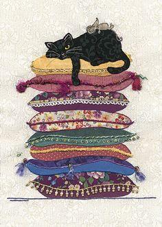 Cat Cushions - Bug Art greeting card