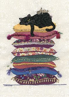 BugArt ~ Cat Cushions. Amy's Cards *NEW* Original embroideries by Amy Butcher. Cards designed by Jane Crowther. Each card is embossed with gold foil and part varnished. Individually cello-wrapped with a cream pearlized envelope. BLANK inside. Card size, 167mm x 118mm.