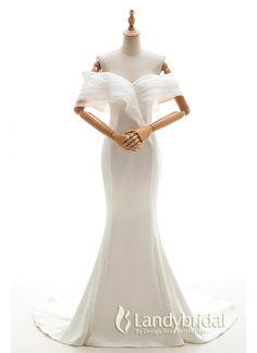 ウェディングドレス マーメイドドレス コートトレーン サテン オフショルダー オーガンジ CWLT1600B