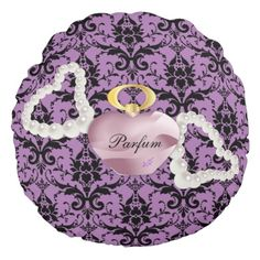 Parfum & Pearls Purple & Black Damask Round Pillow by #MoonDreamsMusic #ParfumAndPearls #PurpleAndBlackDamask