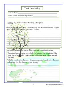 Worksheets Tuck Everlasting Worksheets tuck everlasting free printable student and teaching culminating activities plus