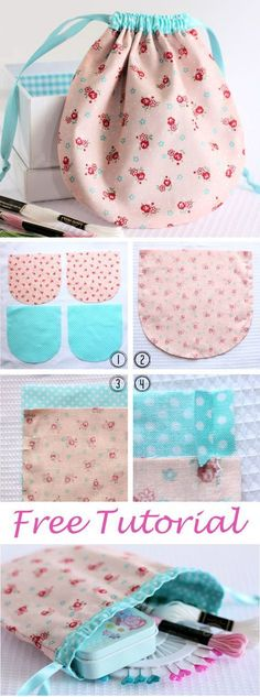 Tendance Sac 2018 : Description Pretty Drawstring Pouch Tutorial www.free-… Tendance Sac 2018 : Description Pretty Drawstring Pouch Tutorial www.free-…,deco Tendance Sac 2018 : Description Pretty Drawstring Pouch Tutorial www. Sewing Hacks, Sewing Tutorials, Sewing Crafts, Sewing Ideas, Sewing Tips, Tutorial Sewing, Diy Crafts, Drawstring Bag Tutorials, Drawstring Pouch