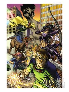 Secret Invasion: Runaways/Young Avengers No.3 Cover: Vision, Hawkeye, Stein and Chase Art Print by Michael Ryan at Art.com