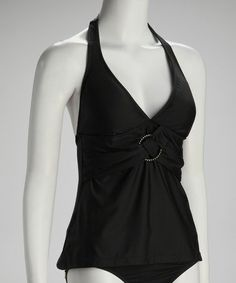 Take a look at this Black Twisted Ring Halter Tankini Top by Perry Ellis on #zulily today!   http://www.zulily.com/invite/ngrahe352